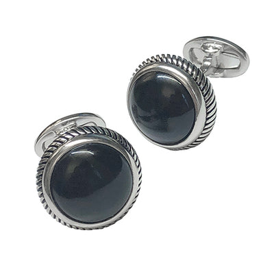Round Polished Gemstone with Rope Edge Sterling Silver Cufflinks Cufflinks Jan Leslie Cufflinks and Accessories Onyx Jan Leslie