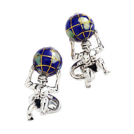 Atlas Carrying the World Sterling Silver Cufflinks - Jan Leslie Cufflinks and Accessories