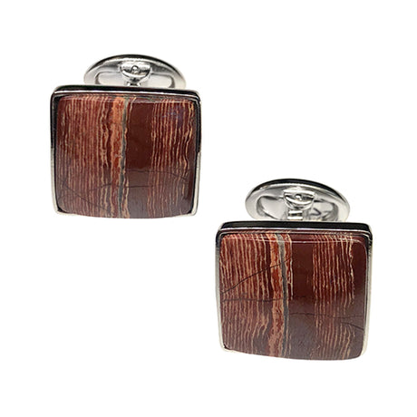Red Snakeskin Jasper Sterling Silver Cufflinks