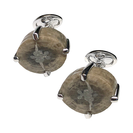 Sea Lily Fossil Sterling Silver Cufflinks