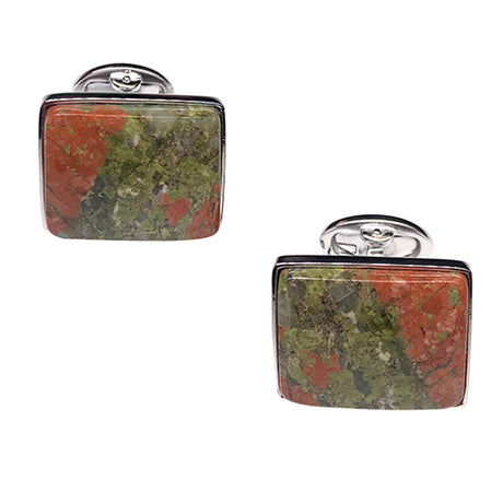 Unakite Sterling Silver Cufflinks - Jan Leslie Cufflinks and Accessories