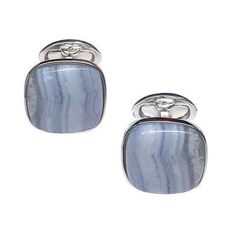 Blue Lace Agate Sterling Silver Cufflinks - Jan Leslie Cufflinks and Accessories
