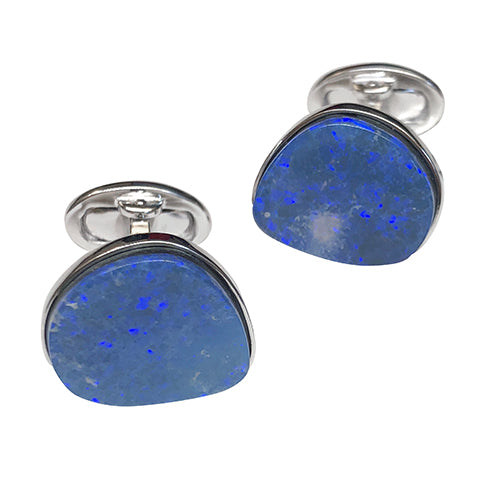 Blue Australian Boulder Opal Sterling Silver Cufflinks - Jan Leslie Cufflinks and Accessories