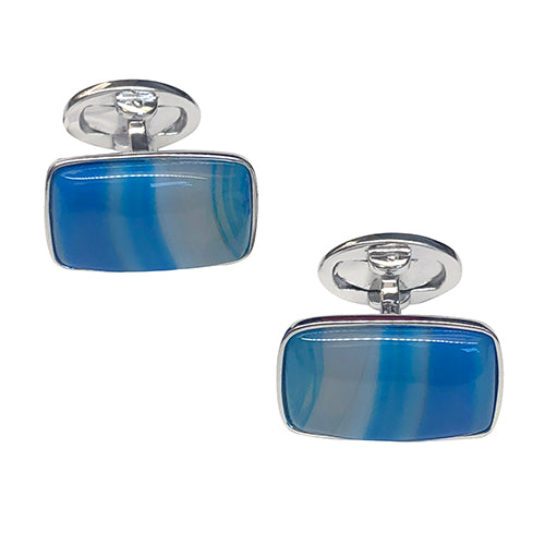 Blue Agate Sterling Silver Cufflinks - Jan Leslie Cufflinks and Accessories
