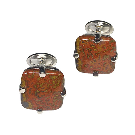 Fire Agate Sterling Silver Cufflinks - Jan Leslie Cufflinks and Accessories