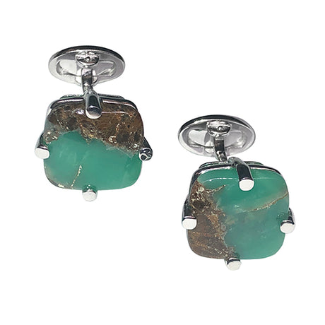 Square Chrysoprase Sterling Silver Cufflinks - Jan Leslie Cufflinks and Accessories