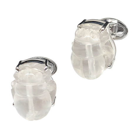 Crystal Scarab Sterling Silver Cufflinks - Jan Leslie Cufflinks and Accessories