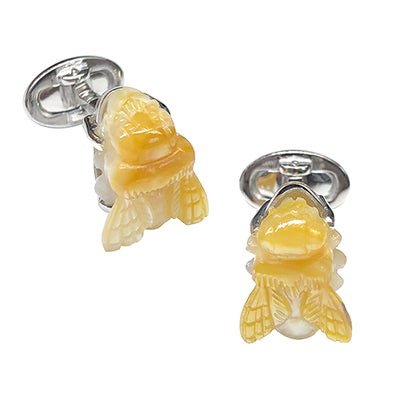 Carved Gemstone Bee Sterling Silver Cufflinks - Jan Leslie Cufflinks and Accessories