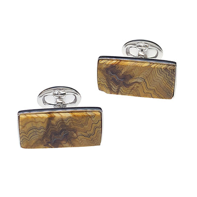 Fossil Wood Sterling Silver Cufflinks - Jan Leslie Cufflinks and Accessories