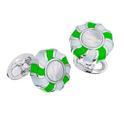 Enamel & Mother of Pearl Peppermint Candy Sterling Silver Cufflinks