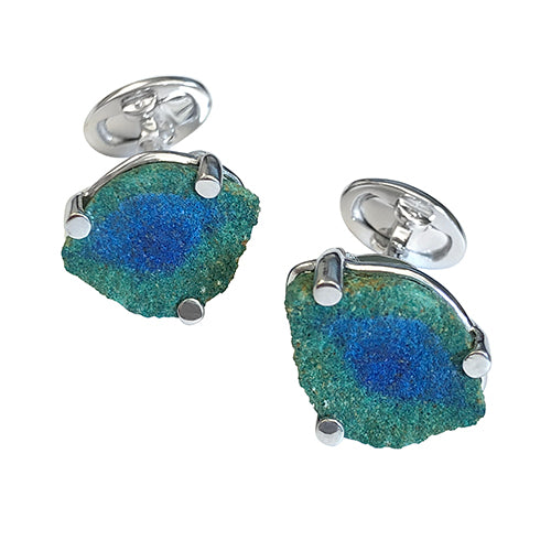 Green Berries Malachite Sterling Silver Cufflinks - Jan Leslie Cufflinks and Accessories