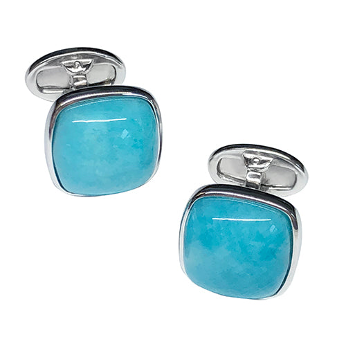 Amazonite Sterling Silver Cufflinks - Jan Leslie Cufflinks and Accessories
