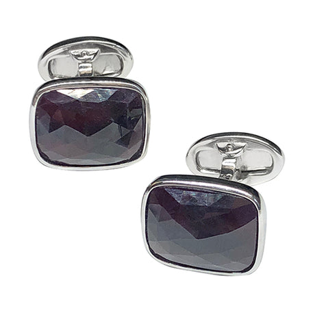 Faceted Garnet Sterling Silver Cufflinks - Jan Leslie Cufflinks and Accessories