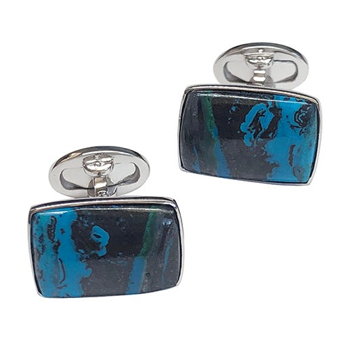 Chrysocolla Tenorite Sterling Silver Cufflinks - Jan Leslie Cufflinks and Accessories