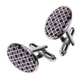 Purple Oval Plaid Cufflinks by Jan Leslie