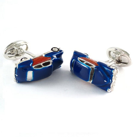 Retro Car Sterling Silver Cufflinks with Wood Inlay Cufflinks Jan Leslie Cufflinks and Accessories Jan Leslie