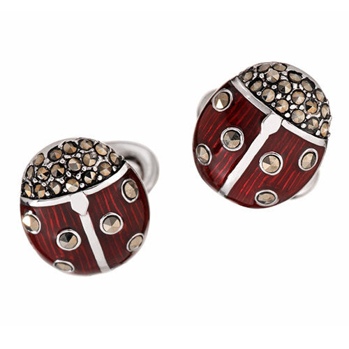 Gemstone Ladybug Cufflinks by Jan Leslie