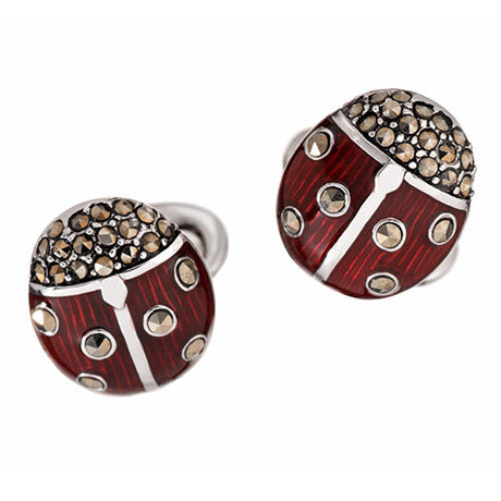 Marcasite and Enamel Ladybug Cufflinks - Jan Leslie Cufflinks and Accessories