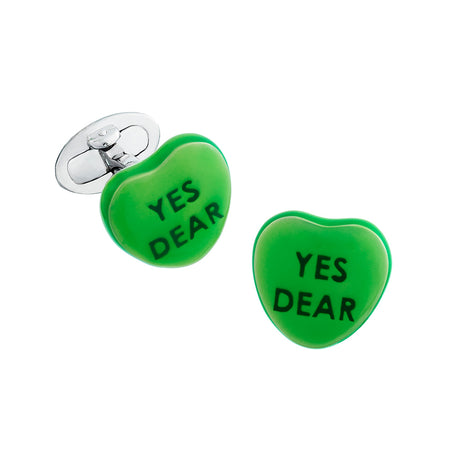 "Candy Heart Sterling Silver Cufflinks - Available in 7 Colors Cufflinks Jan Leslie Green ""Yes Dear"" Jan Leslie"