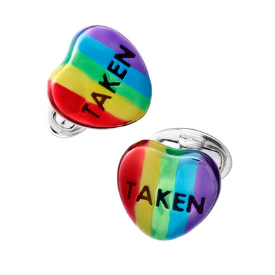 "Candy Heart Sterling Silver Cufflinks - Available in 7 Colors Cufflinks Jan Leslie Rainbow ""Taken"" Jan Leslie"