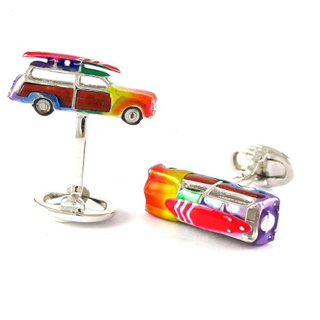 Rainbow Surf Van Sterling Silver Cufflinks Cufflinks Jan Leslie Cufflinks and Accessories Jan Leslie