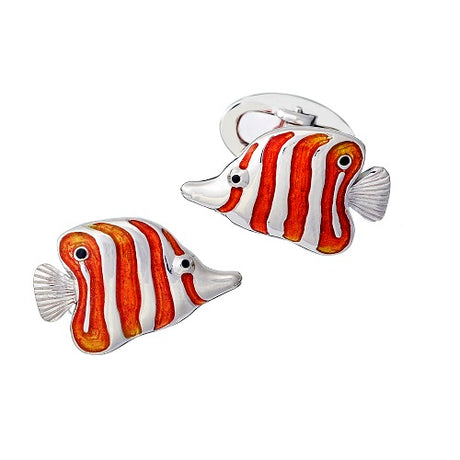 Copperband Butterfly Fish Sterling Silver & Enamel Cufflinks