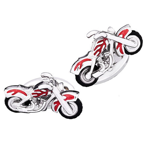 Motorcycle Cufflinks with Moving Wheels