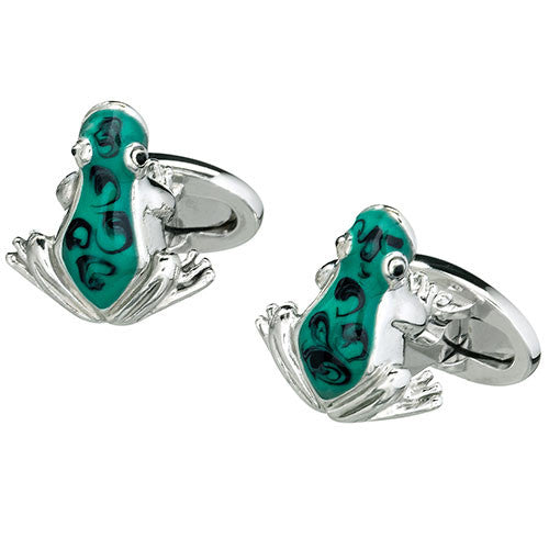 Green Enamel Rainforest Frog Cufflinks by Jan Leslie