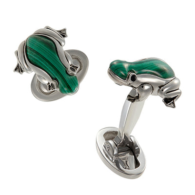Malachite Jungle Frog Cufflinks - Jan Leslie Cufflinks and Accessories