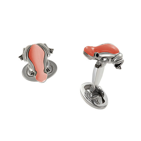 Hand-Painted Pink Enamel Rainforest Frog Sterling Silver Cufflinks