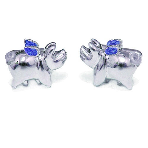 Flying Pig Sterling Silver Cufflinks