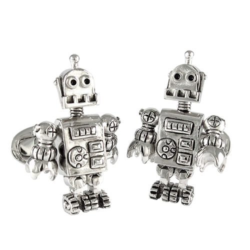 Sterling Silver Robot Cufflinks - Jan Leslie Cufflinks and Accessories