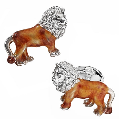 Enameled Lion Cufflinks
