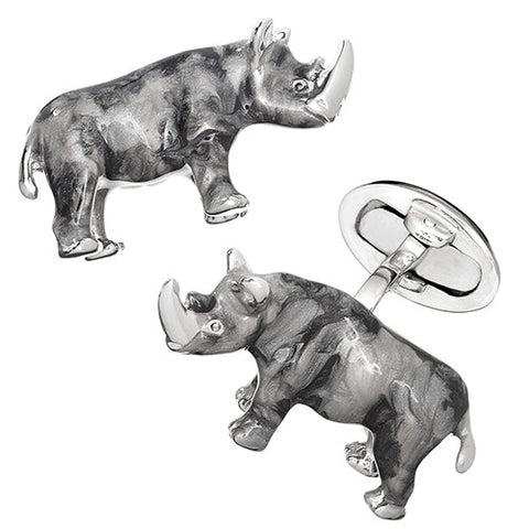 Sterling Enamel Rhinoceros Cuff Links