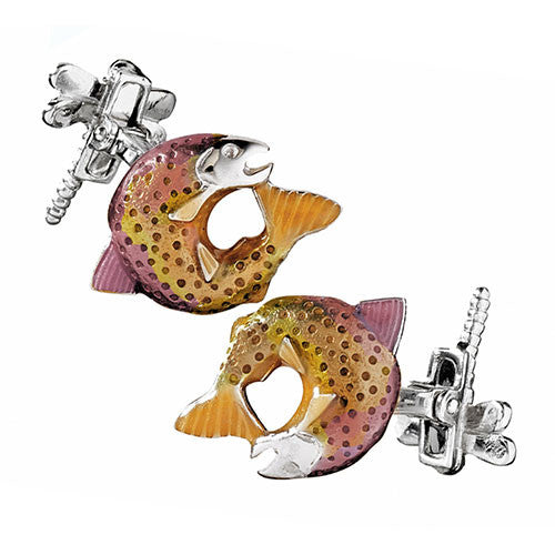 Pink and Yellow  Salmon with Dragon Fly Cufflinks by Jan Leslie