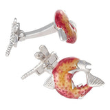 Red Salmon with Dragon Fly Cufflinks by Jan Leslie