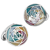 Abalone Gemstone Inlay Rose Button Cufflinks by Jan Leslie