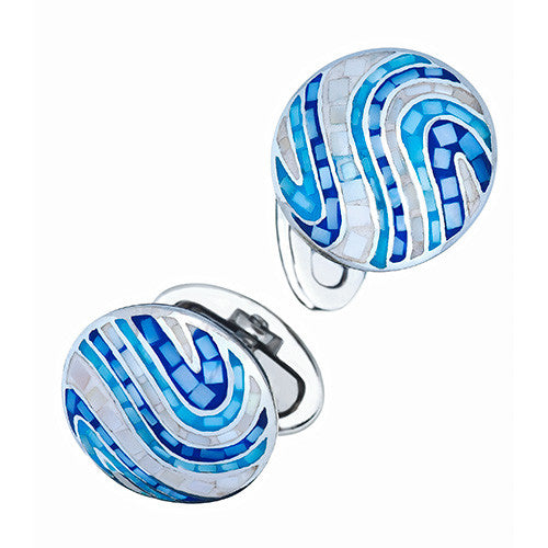 Blue Mother-of-Pearl Swirl Cufflinks by Jan Leslie