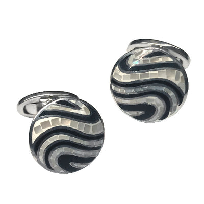 Mother-of-Pearl Swirl Sterling Silver Cufflinks Cufflinks Jan Leslie Black and White Jan Leslie