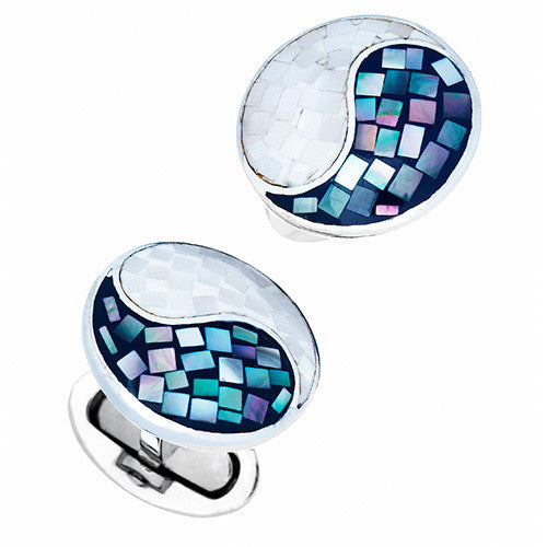 Blue and White Gemstone Yin Yang Cufflinks by Jan Leslie