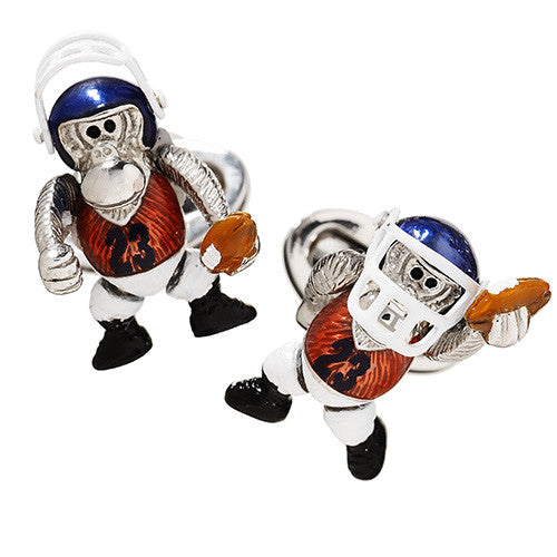 Novelty Monkey Football Cufflinks by Jan Leslie