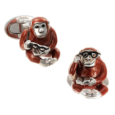 Moving Monkey Cufflinks with On-Trend Glasses - Jan Leslie Cufflinks and Accessories