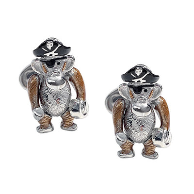 Moving Monkey Pirate Sterling Silver Cufflinks Cufflinks Jan Leslie Blade-Free Buccaneer Jan Leslie
