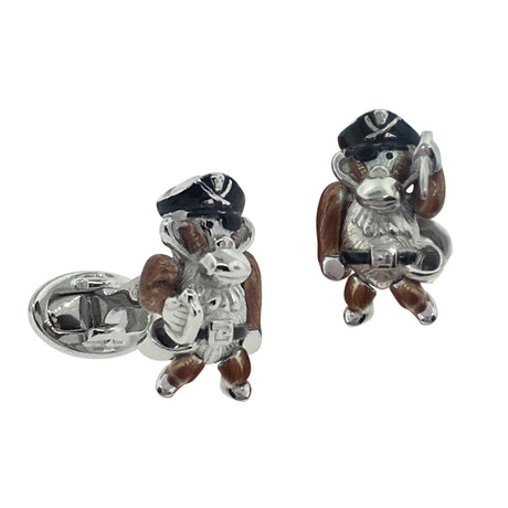 Moving Monkey Pirate with Hat and Sword Cufflinks - Jan Leslie Cufflinks and Accessories