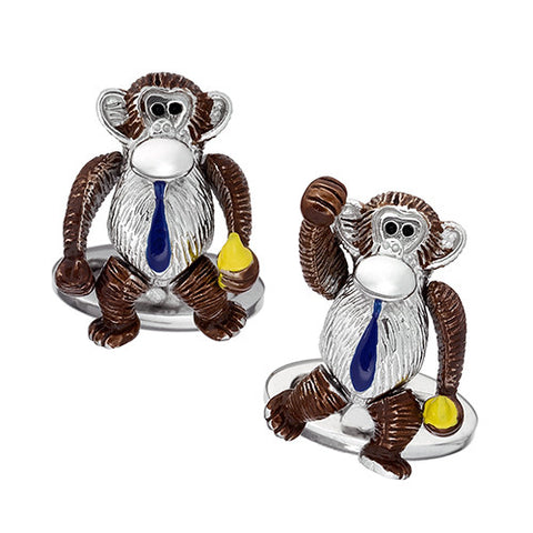 Moving Monkey Cufflinks with Tie
