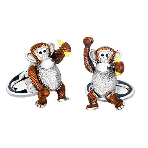 Novelty Monkey and Banana Cufflinks by Jan Leslie
