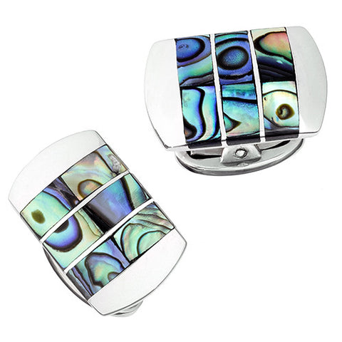 Silver and Abalone Stripe Cufflinks