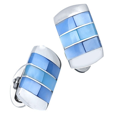 Blue Ombre Mother-of-Pearl Cufflinks by Jan Leslie