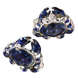 Blue Sterling Silver Crab Cufflinks by Jan Leslie
