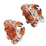 Orange Sterling Silver Crab Cufflinks by Jan Leslie